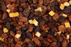 Macro of raisins currants and sultanas with candied peel background stock photography