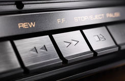 Macro Of A Rectangular Fast Forward Button Of An Old Hifi Stereo Audio System Stock Photography