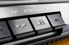 Macro Of A Rectangular Stop / Eject Button Of An Old Hifi Stereo Audio System Stock Image