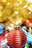 Macro red christmas ornament Royalty Free Stock Images