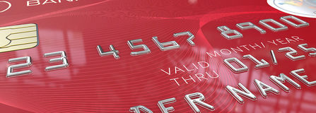 Macro Red Credit Card. Royalty Free Stock Photography