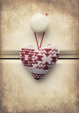Macro retro cross processed effect image of Christmas heart on w Royalty Free Stock Images