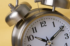 Macro of Retro Silver Alarm Clock Stock Images