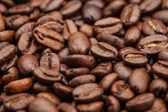 Macro Roasted brown coffee beans as background Royalty Free Stock Photography