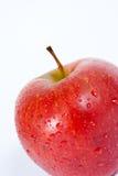 Macro roja aislada de la manzana Foto de archivo
