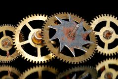 Macro of rusty old clock gears Royalty Free Stock Image