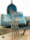 Macro of rusty old fork Royalty Free Stock Photo