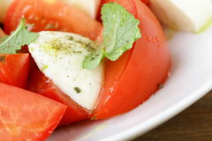 Macro  of salad tomatoes and mozzarella ch Royalty Free Stock Photo