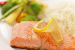 Macro salmon filet meal Stock Images