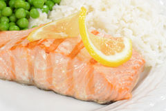 Macro salmon with lemon Stock Photos