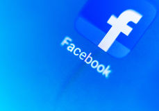 Macro screen the logo of Facebook on the electronic display Royalty Free Stock Photography