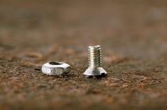 Macro of screw bolt and nut Stock Photos