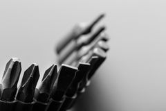 Macro of screwdriver bits Stock Photos