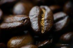 Macro scura fragrante dell'arrosto dei chicchi di caffè Fotografia Stock