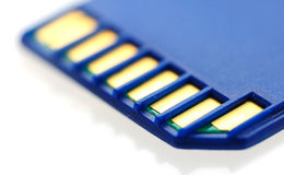 Macro of SD card. Macro of Secure didital (SD) memory flash card Royalty Free Stock Photo