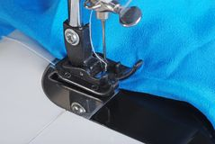 Macro Sewing Blue Fabric Stock Images