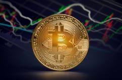 Macro shiny bitcoin and trading market data chart. virtual crypt Royalty Free Stock Photos