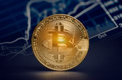 Macro shiny bitcoin and trading market data chart. virtual crypt Stock Images