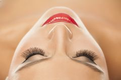 Eyelashes extensions. Macro shoot of eyelash extensions Stock Images