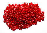 Macro Shoot of Ripe Pomegranate Seeds. Red pomegranate seeds texture on white Stock Photos