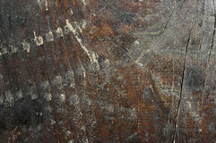 Macro shoot of small  part of   grunge bench seat 5. Close-up of  old, decaying,peeled ,scratched, rough,brown and grey wooden board surface Stock Photography