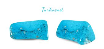 Macro shooting of natural gemstone. Natural mineral gem stone - turkvenit -blue howlite gemstone. Isolated object on a. White background Stock Photo