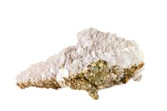 Macro shooting of natural gemstone. Raw calcite mineral with pyrite.  object on a white background. Macro shooting of natural gemstone. Raw calcite mineral with Stock Photos
