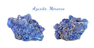 Macro shooting of natural gemstone. Raw mineral azurite, Morocco. Isolated object on a white background. Macro shooting of natural gemstone. Raw mineral azurite Stock Photos
