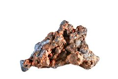 Macro shooting of natural gemstone. The raw mineral is goethite. Morocco. Isolated object on a white background. Macro shooting of natural gemstone. The raw Royalty Free Stock Photography