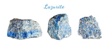 Macro shooting of natural gemstone. Raw mineral lazurite. Pakistan. Isolated object on a white background. Macro shooting of natural gemstone. Raw mineral Stock Photo