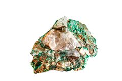 Macro shooting of natural gemstone. Raw mineral malachite. Morocco. Isolated object on a white background. stock images