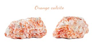 Macro shooting of natural gemstone. Raw mineral orange calcite, Brazil. Isolated object on a white background. Macro shooting of natural gemstone. Raw mineral Stock Photo