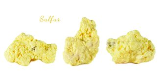Macro shooting of natural gemstone. Raw mineral sulfur, Indonesia. Isolated object on a white background. Royalty Free Stock Photos