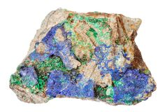 Blue Azurite and green Malachite at stone isolated. Macro shooting of natural mineral rock specimen - blue Azurite and green Malachite at stone isolated on white stock photography