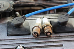 Macro shooting used spark plugs Royalty Free Stock Photos