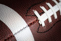 Macro shot of American football ball background Royalty Free Stock Images