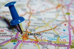 Amiens on map. Macro shot of Amiens on map with push pin Royalty Free Stock Photography