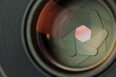 Macro shot of aperture. Aperture blades inside of a lens Stock Photo