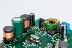 Coils, Capacitors, Resistors And A Crystal Oscillator Royalty Free Stock Image