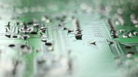 Macro shot of the back side of a circuit board stock video