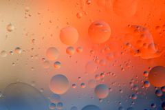 Macro shot of backlit water-oil emulsion over colored background. Tiny gas bubbles inside larger oil bubbles inside water base. Drops of water and scratches on royalty free stock images