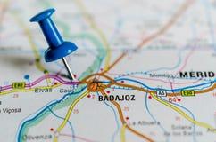 Badajoz on map royalty free stock image