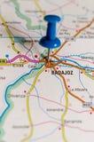 Badajoz on map royalty free stock images