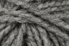 Macro shot of ball of grey wool or yarn Royalty Free Stock Photo