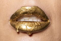 Wet good lips with drop royalty free stock photos