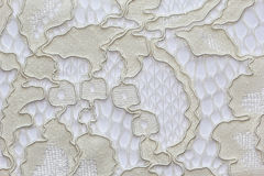 Macro shot of the beige lace texture material Royalty Free Stock Image