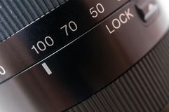 Macro shot of black camera lens. Photography concept Stock Images
