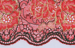 The macro shot of the black and red lace texture Royalty Free Stock Photos