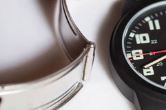 Macro shot of a black wrist watch Royalty Free Stock Photos