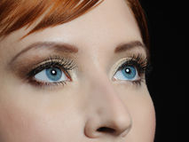 Macro shot of blue eyes with long lashes. Beautiful macro shot of blue eyes with long lashes and make-up in brown tones stock photo